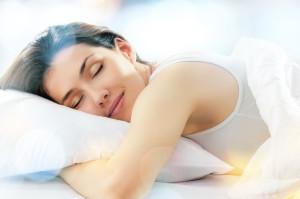 beautiful girl sleeps in the bedroom